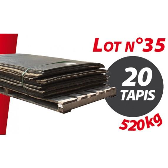Palette N°35 (520kg) de 20 tapis caoutchouc d'occasion Qingdao 2.69m x 0.70m pour ensilage