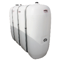HDPE reinforced white fuel tank with metal reinforcements, 2000L
