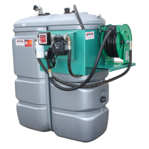 """Odourless HDPE double wall fuel station, 1500 L """"Confort+"""" with winding reel"""