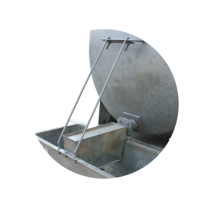 Protective holder with valve for constant-level drinking trough