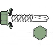 Metal wall-mounted self-piercing screw (per 100), short 5.5x27, forest green RAL6011