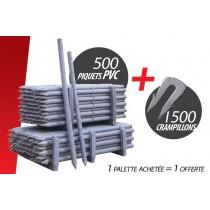 Kit de 500 Pces Piquet PVC (Ø 60 mm 1.50 m) + 1500 Crampillons anti arrachement