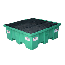 HDPE square retention tray, 4 sections - 208 litres (in polyethylene)