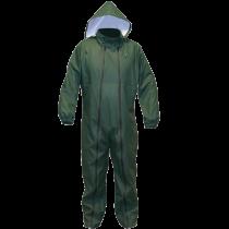 Green polyurethane/PVC rain suit