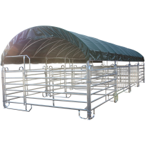 Modular shelter with Texas barriers 12 m x 4 m and roof tarpaulin