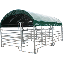 Modular shelter with texas barriers 4 m x 6 m and roof tarpaulin