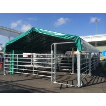 Modular shelter with Texas barriers 6 m x 12 m and roof tarpaulin