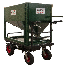Trolley distributor with hopper and hatch