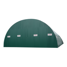 Closed structure for tunnel in corrugated sheeting