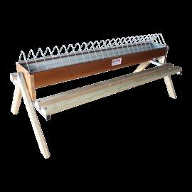 Mangeoire en tôle laquée avec perchoir en bois 120 cm