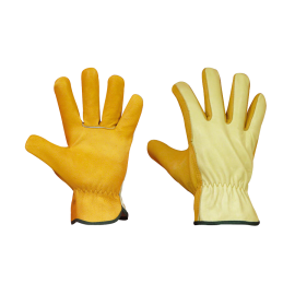 Water-repellent leather gloves, size 10
