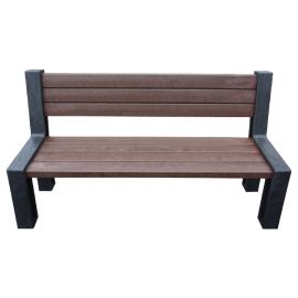 Recycled plastic bench with backrest