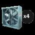 4 Large fans 138 cm X 138 cm X 40 cm