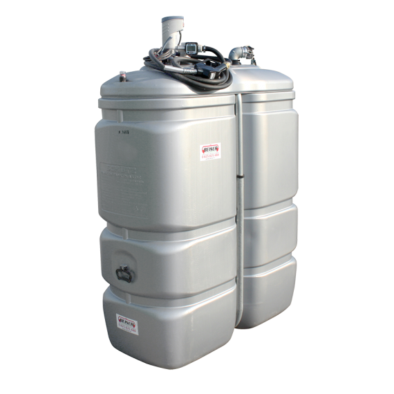 Odourless HDPE double wall fuel station,  1000 litres, Compact fuel pump 12V