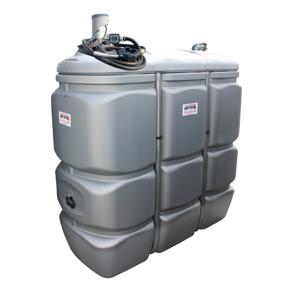 Odourless HDPE double wall fuel station, 1500 litres, Compact fuel pump 12V