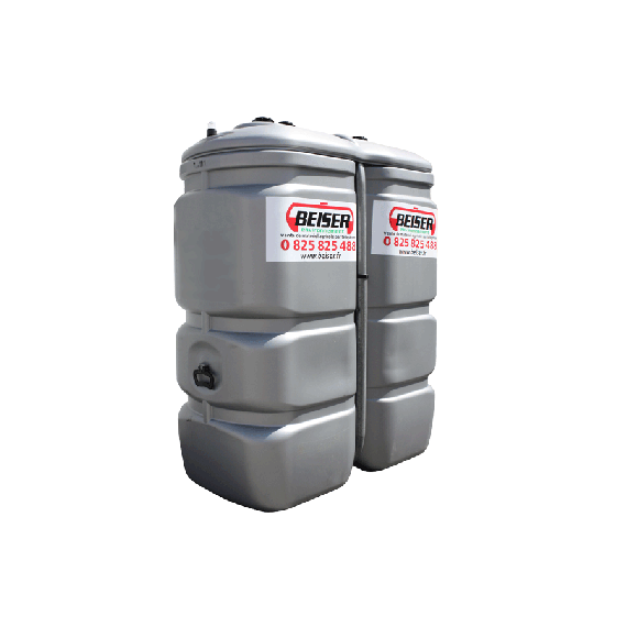 Odourless HDPE double wall fuel tank, 750 litres - GRAY