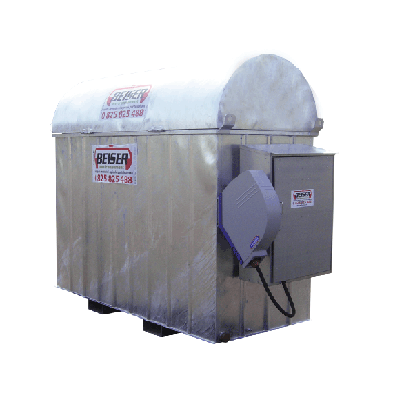 Galvanised basic industrial fuel station (1000 L) with 8 m winding reel