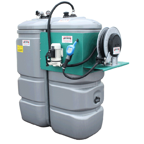 Odourless HDPE double wall B-BLUE station, 1500L with winding reel
