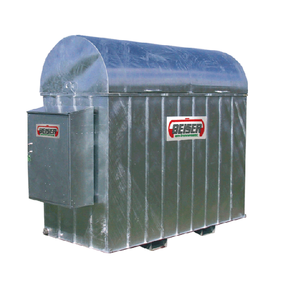 Galvanised retention tray for HDPE fuel tank (2000L) + cabinet