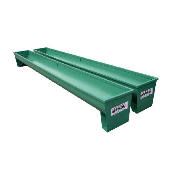 Semi-circular steel trough (painted - on square legs) 6 m, Ø 600 mm