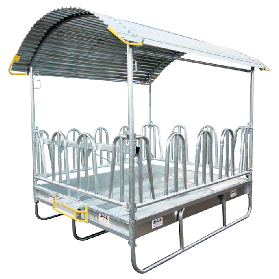Hay rack with secure tombstone feed front 2 x 3m - 14 places