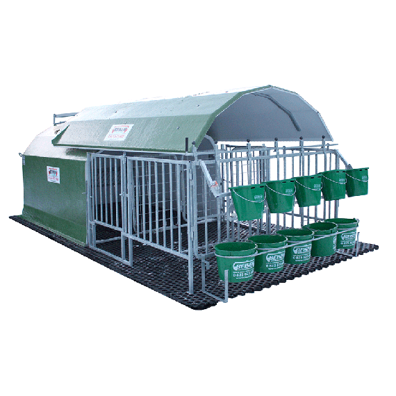 Complete collective calf hut for 5 calves with sliding roof and full grating - 4-star model