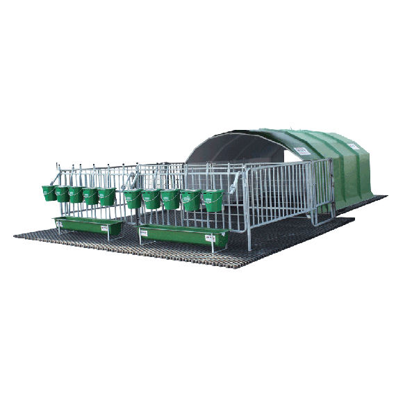 Polyester collective calf hut for 8/10 calves with park and duckboard (cage)