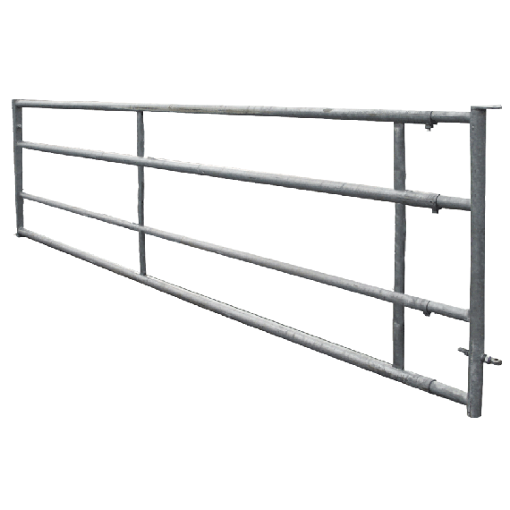 Galvanised 4-rail freestall barrier 6/7 m, fixed panel
