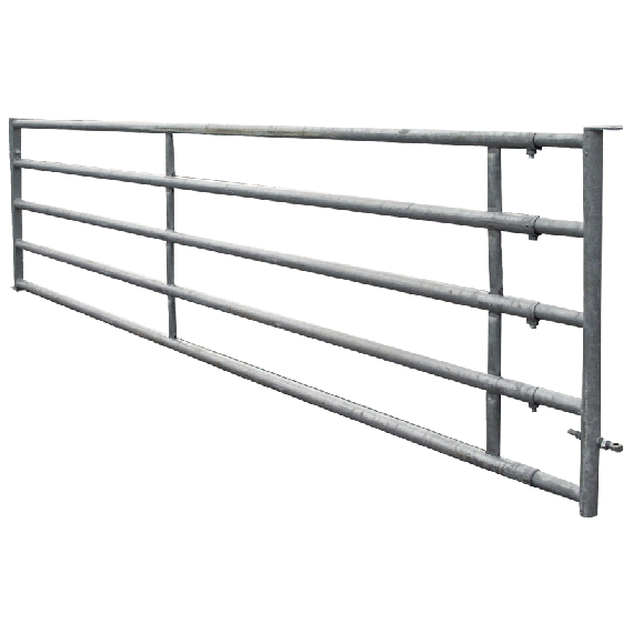 Galvanised 5-rail freestall barrier 5/6 m, fixed panel