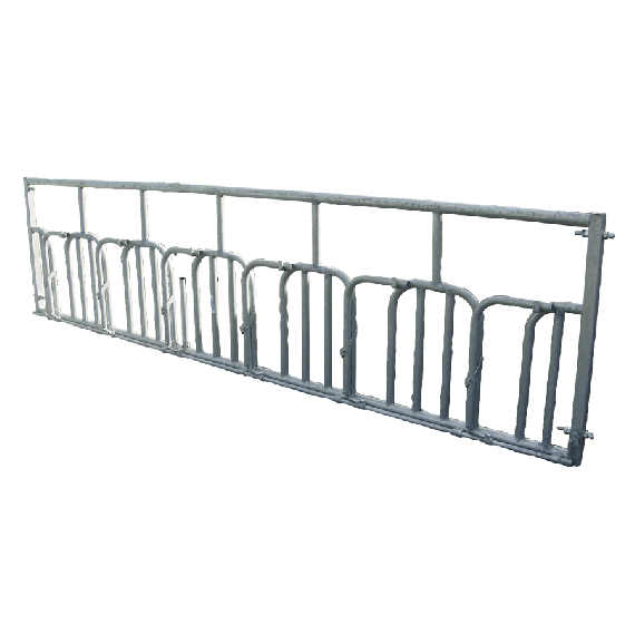 Automatic self-locking Swedish feed front barrier for horned livestock - 8 animals, 6m