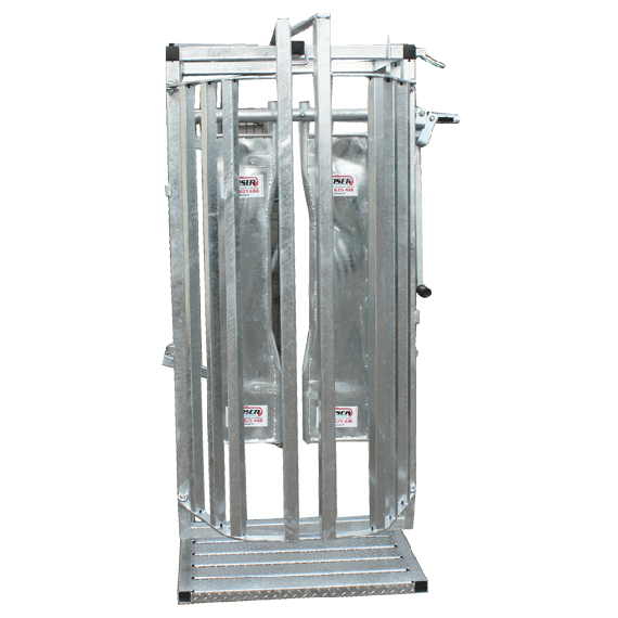 Front gate of the cattle chute or crate with restraint