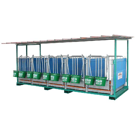 5-place calf stall on frame for telescopic fences
