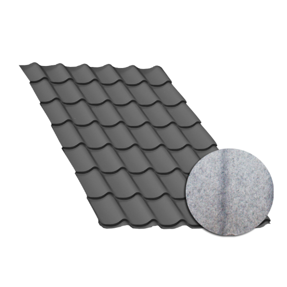 Anthracite grey tile sheeting, with anti-condensation sheet, 4 m