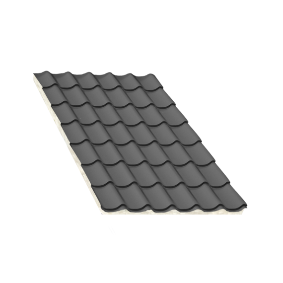 Insulated anthracite grey tile sheeting, thickness 80 mm, 7 m