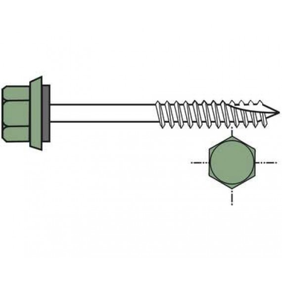 Long self-drilling screw for wooden framework (per 100), 6.5x130, forest green RAL6011