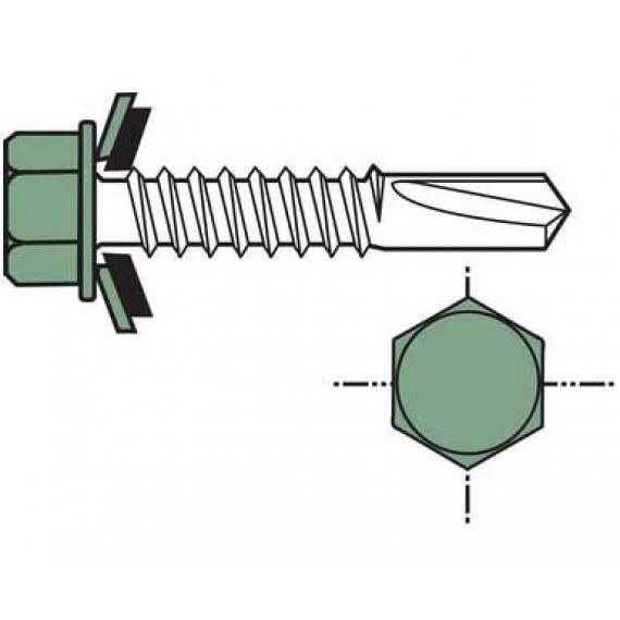 Wood wall-mounted self-piercing screw (per 100), short 6.5x35, red brown RAL8012