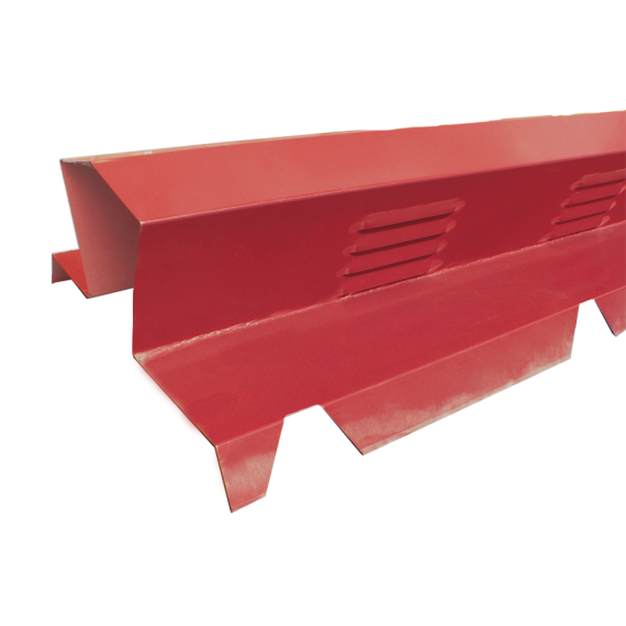 Serrated ventilated double ridge tile 2m - red brown RAL8012