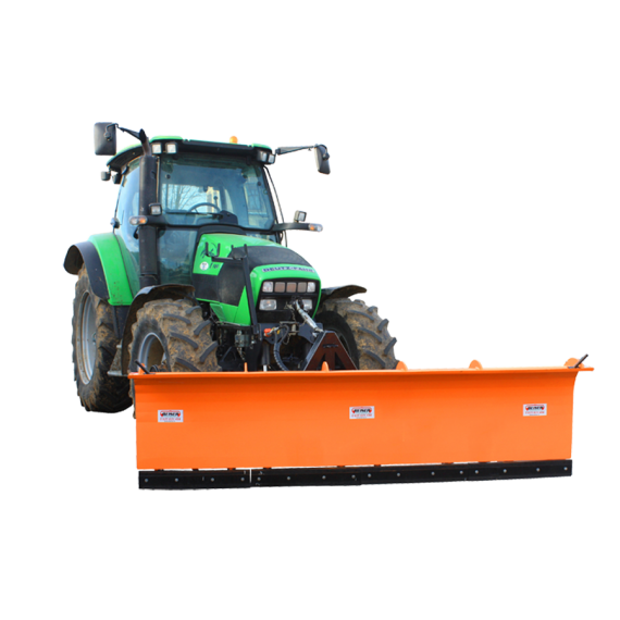 3-position snow plough on wheels and springs