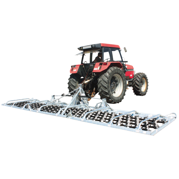 Galvanised pasture harrow 8 m with reinforced coupling