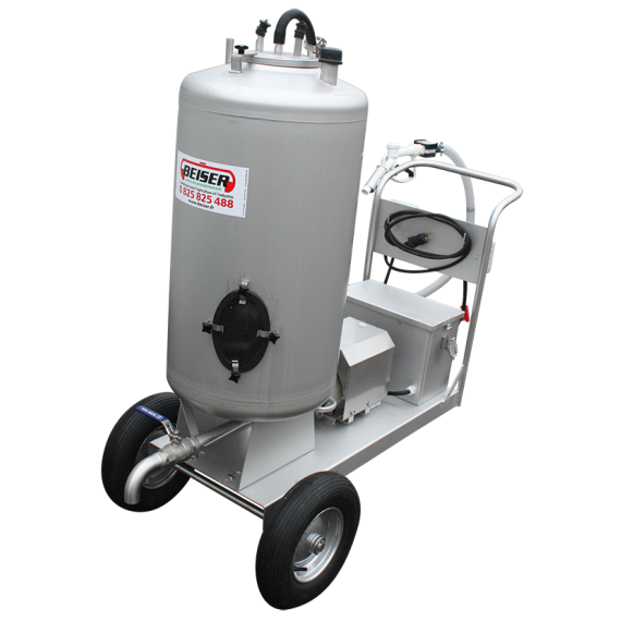 Stainless steel 130-L milk-dispensing trolley with 12 V dispenser