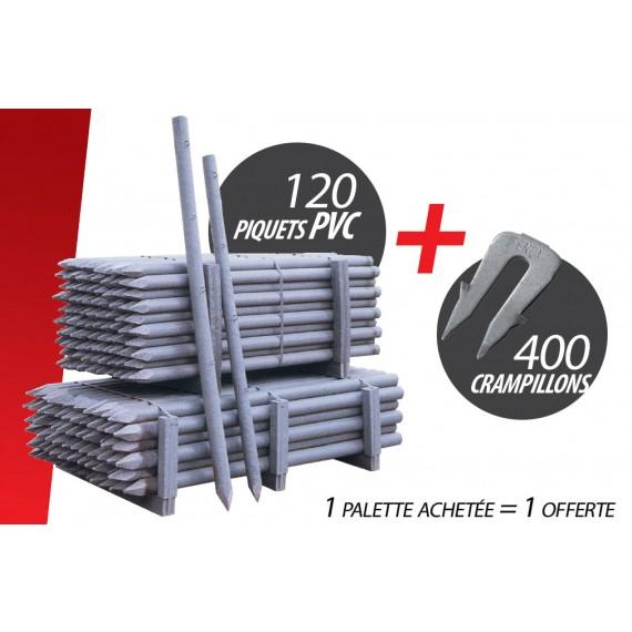 Kit de 120 Pces Piquet PVC (Ø 80 mm 2.00 m) + 400 Crampillons anti arrachement