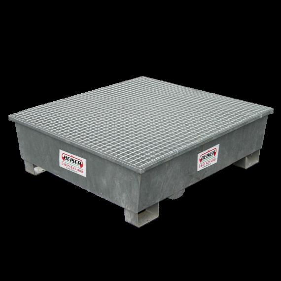 Galvanised rectangular retention tray, 1 section - 208 litres