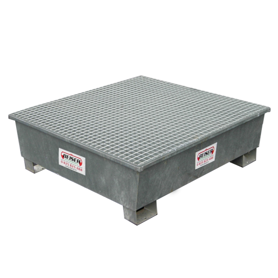 Galvanised square retention tray, 4 sections - 208 litres