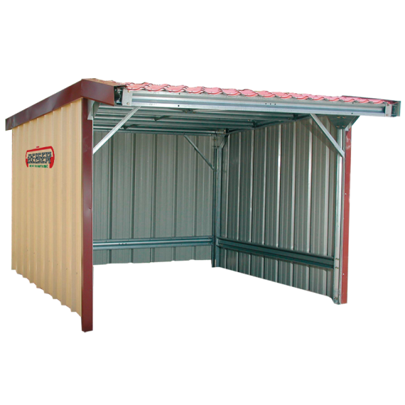 Sided shelter with awning in kit form  5 x 5 m