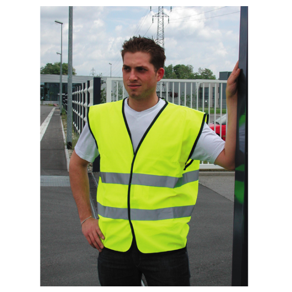 Safety vest with 2 high-visibility strips