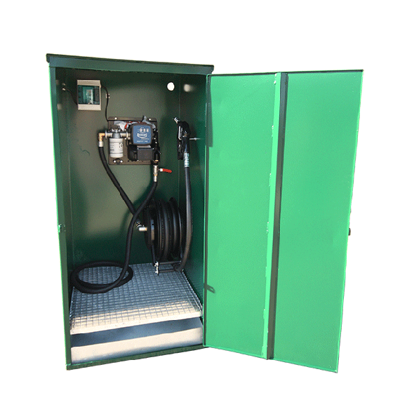 Cabinet with wall-mounted pump (60 L/min) and winding reel