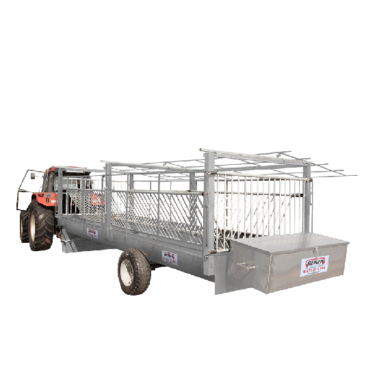 Galvanized forage trolley with rubber mats