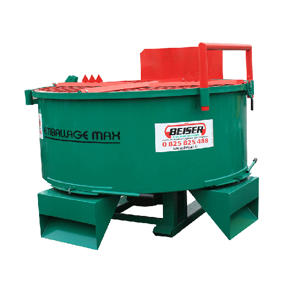 1600-L mixer with 3 drainage hatches