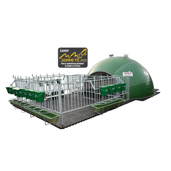 Full insulated 16-calf igloo cage with park and duckboard (under the cage)