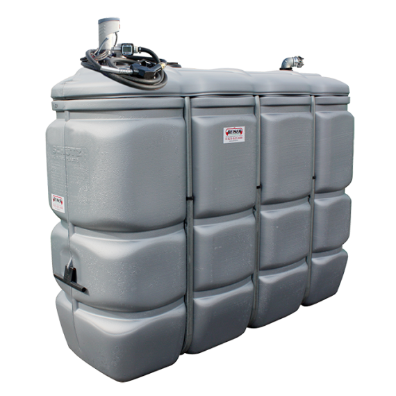 Odourless HDPE double wall fuel station,  2000 litres, Compact fuel pump 24V